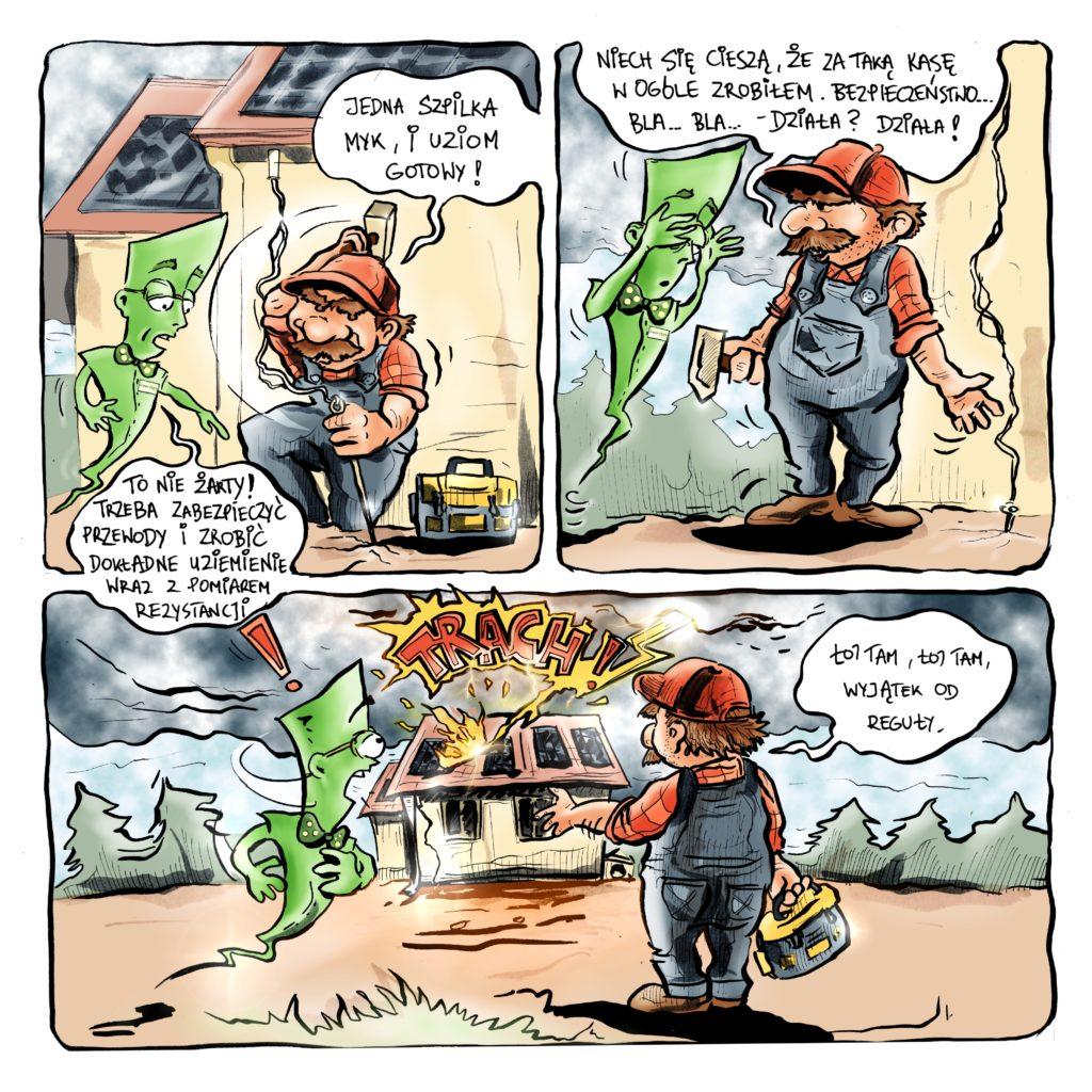 Odcinek 2 uziemienie Pana Kabana komiksy o fotowoltaice