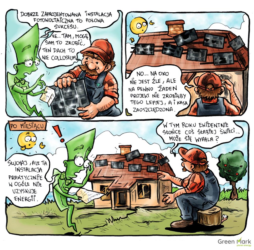 komiks o fotowoltaice pan projektant